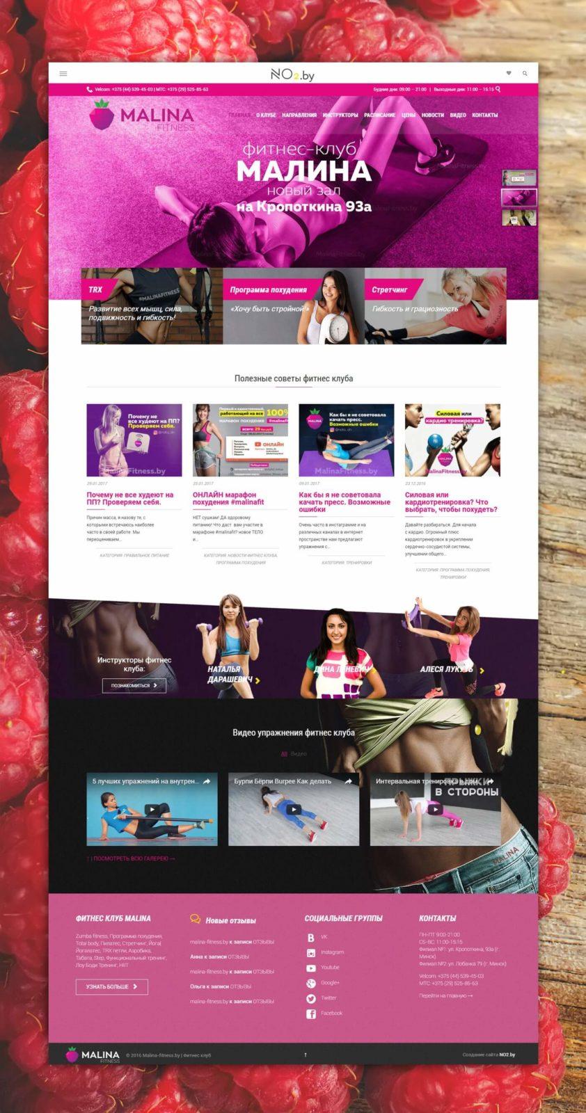 Разработка сайта для фитнес клуба Malina-fitness