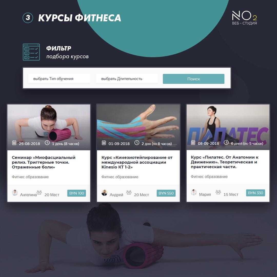 Сайт фитнес курсов - школа фитнеса «Анатомия Фитнеса»