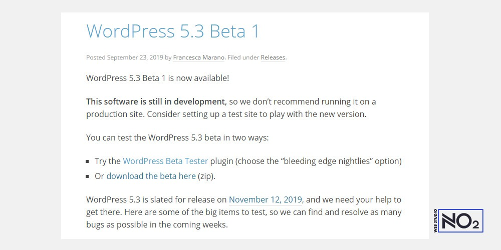 WordPress 5.3 Beta 1